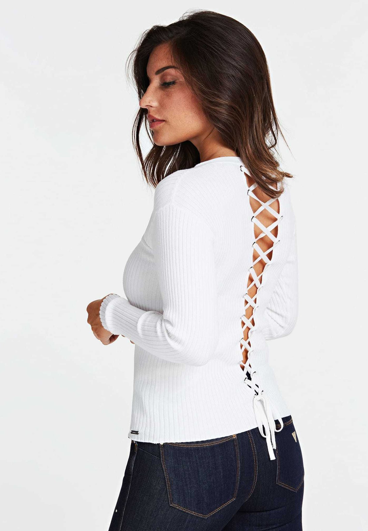Guess RIPPENPULLOVER - Sweter - white