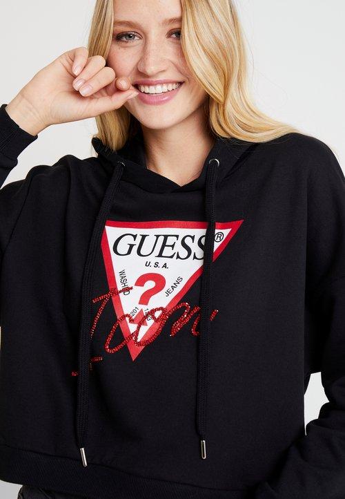 szyk Guess HOODY ICON - Bluza z kapturem - jet black Odzież Damska ZHOT-EA3