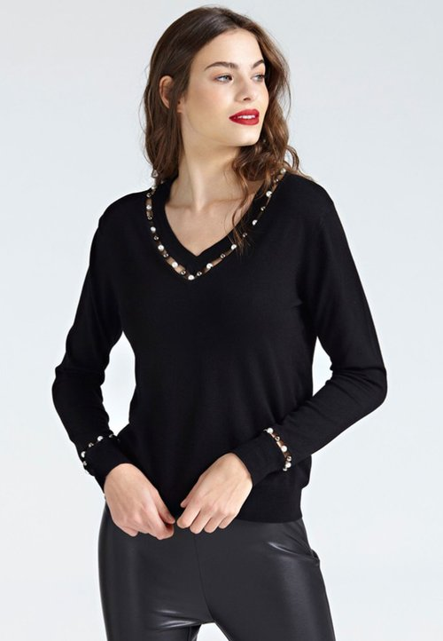 Guess Bluzka z długim rękawem - black Koszulki i Topy DZNE-VY1 najlepszy