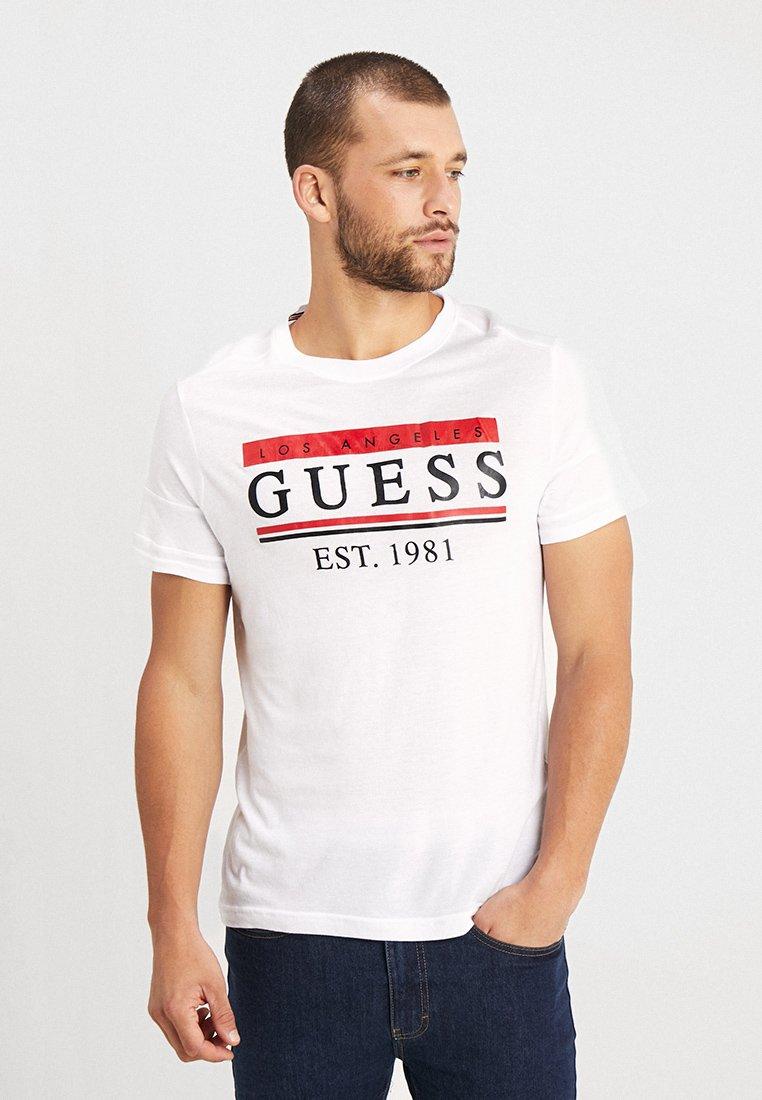 Guess - STRIPES TEE - T-Shirt print - true white