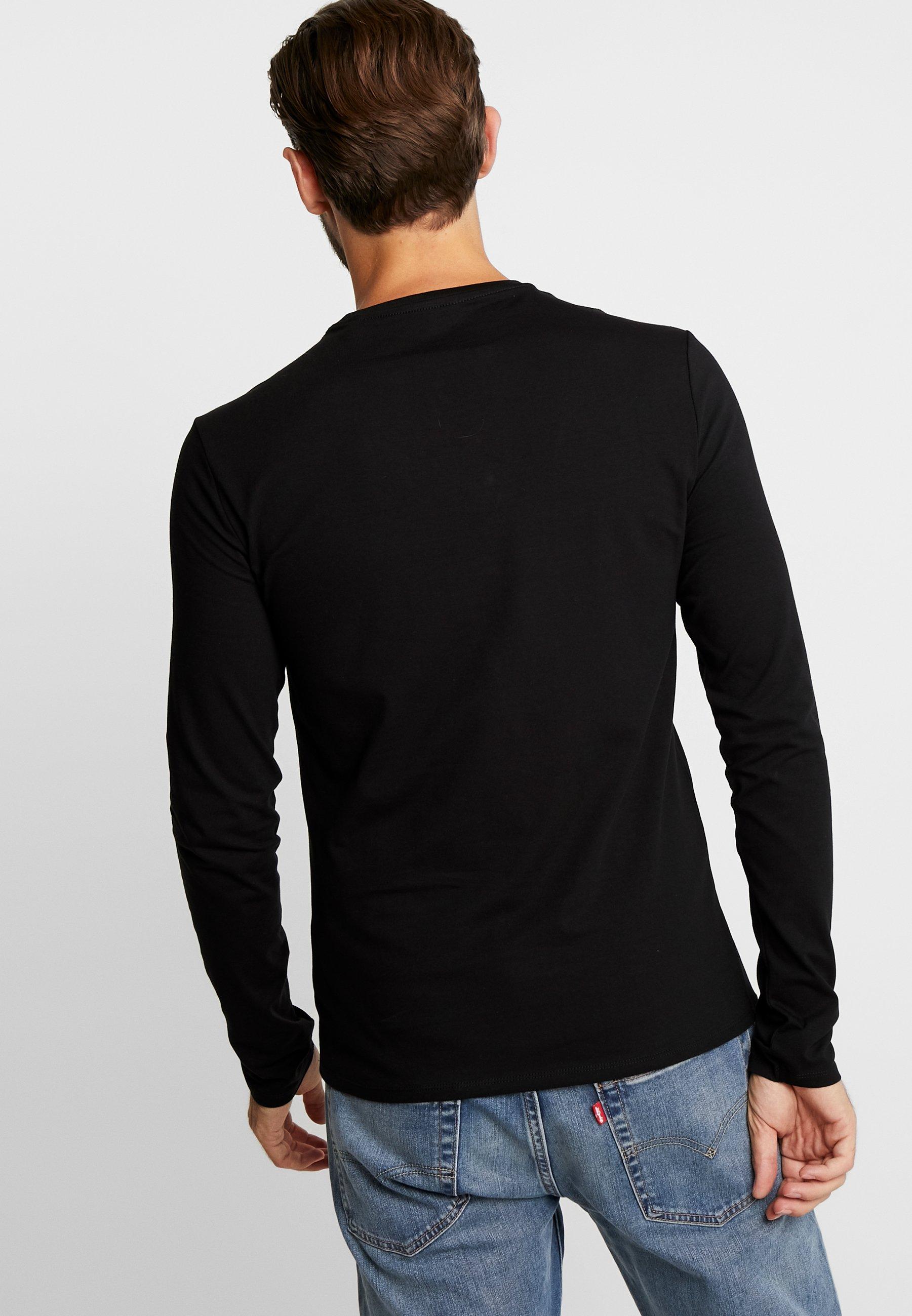 Guess Original Logo À Manches TeeT shirt Jet Core Black Longues 9DIH2eWYbE