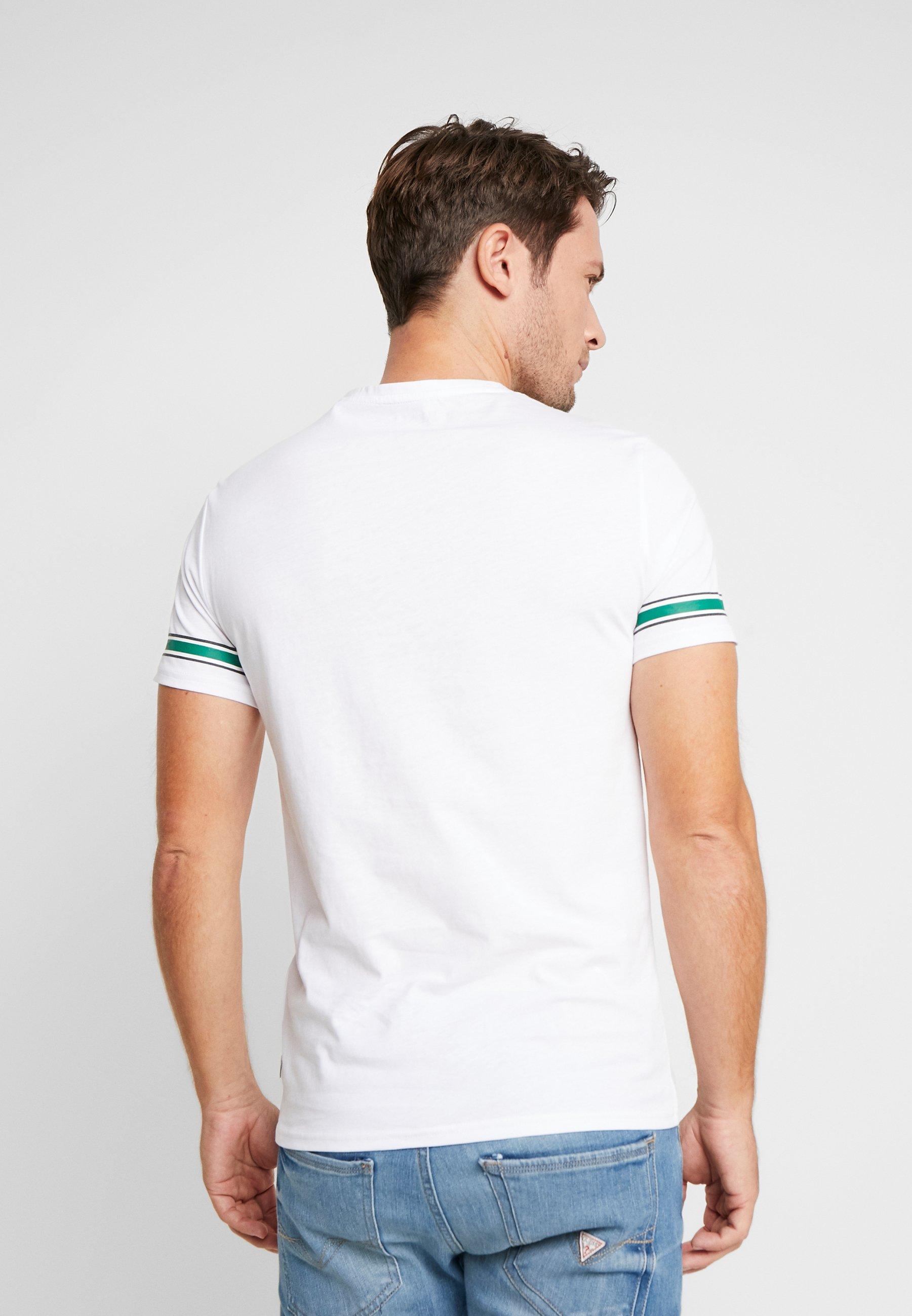 Guess BANNER TEE - T-shirt z nadrukiem - white/green
