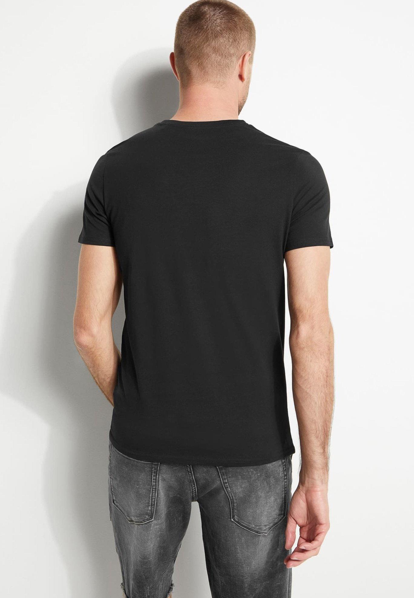 Guess PALM TRIANGLE TEE T shirt imprimé zwart ZALANDO.FR