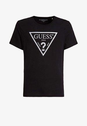 GUESS T-SHIRT REFLEKTIERENDES LOGODREIECK - T-shirt print - schwarz