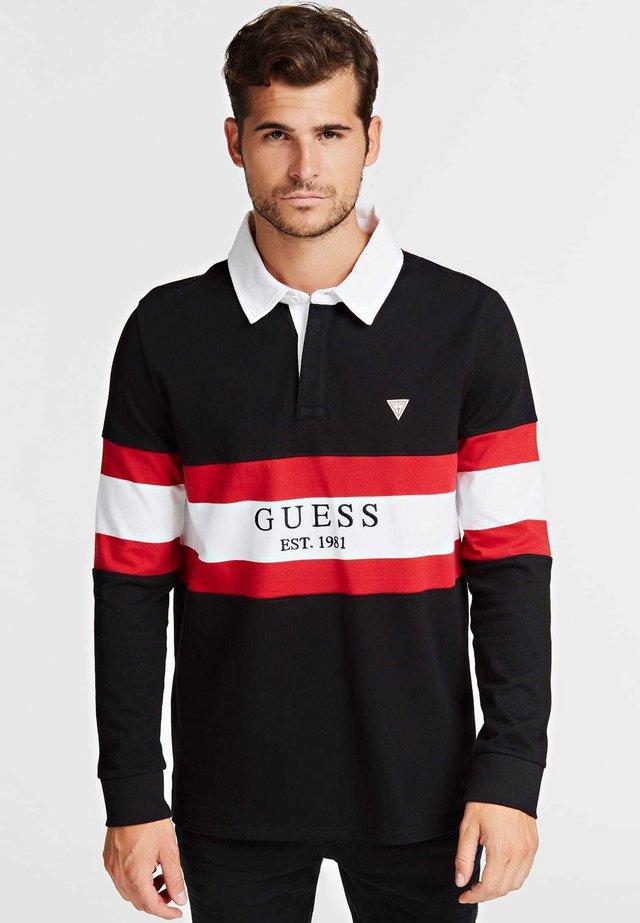 MIT BLOCKSTREIFEN - Poloshirt - black