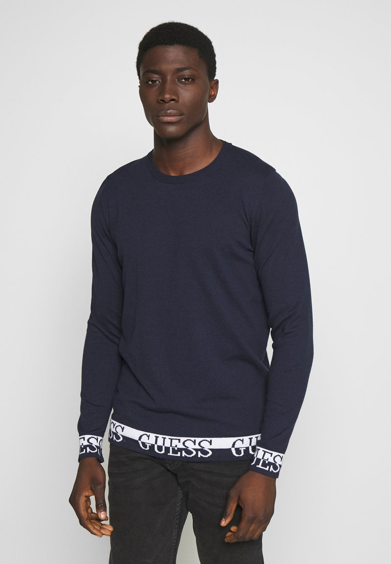 Guess - LS RN NAT SWEATER - Sweter - blue navy