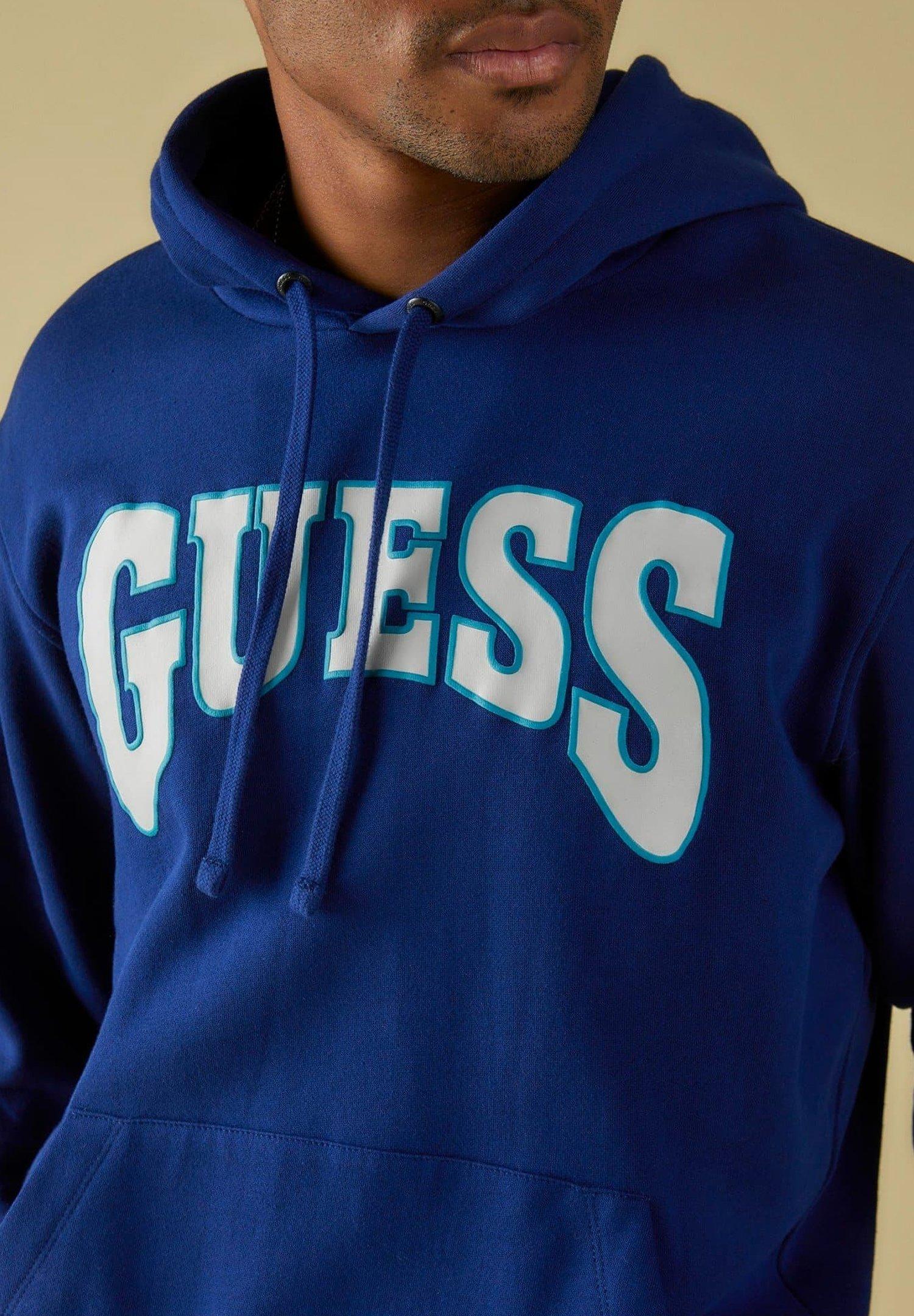 Guess Sweatshirt Frontlogo - Felpa Con Cappuccio Blau htPrz