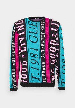 LOGO FUN - Pullover - pink/lagoon lett