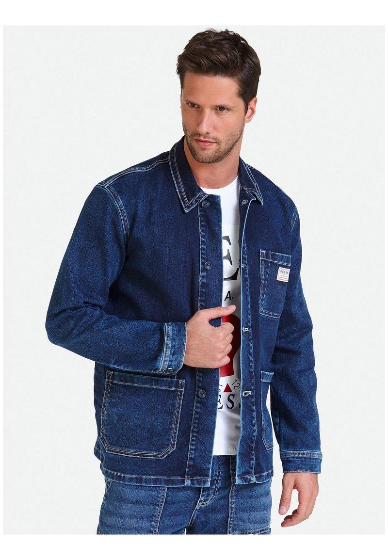 Guess - MIT LOGO - Denim jacket - blue