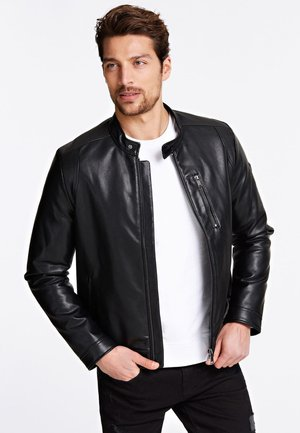 BIKERJACKE AUS LEDERIMITAT - Faux leather jacket - schwarz