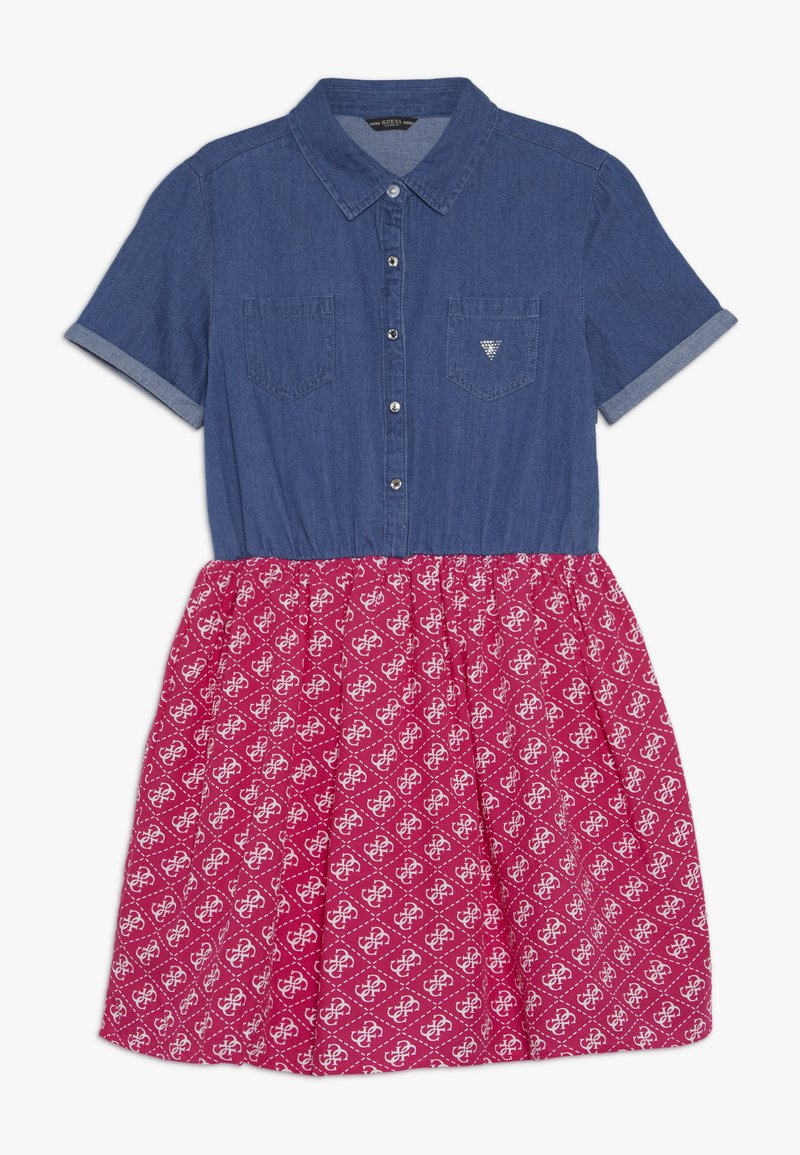 Guess - JUNIOR MIXED FABRIC SLEEVES DRESS - Robe en jean - vintage dark blue