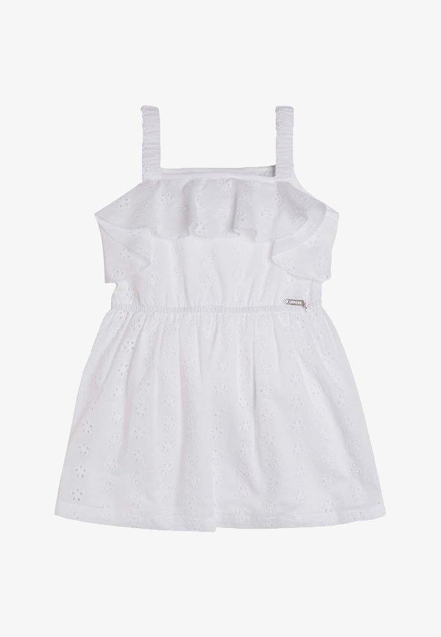 ROBE DENTELLE VOLANTS - Korte jurk - blanc