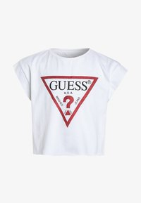 Guess - JUNIOR CROPPED CORE - T-shirt print - blanc/true white - 0
