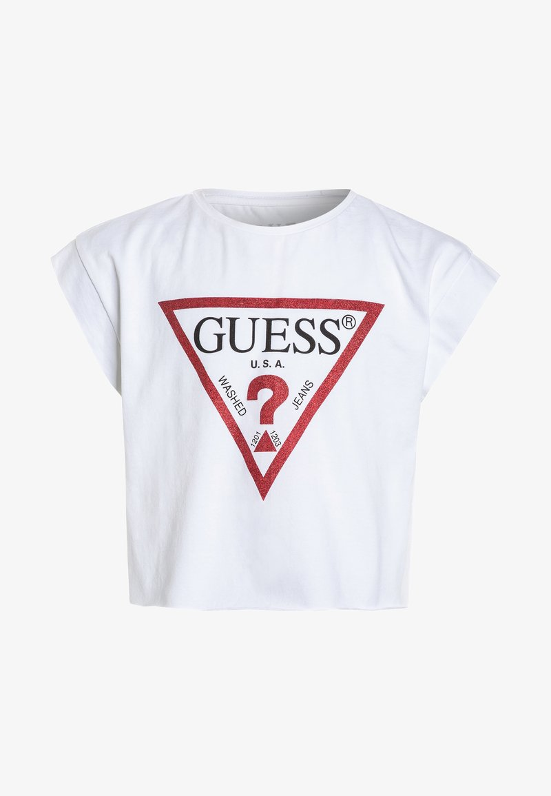 Guess - JUNIOR CROPPED CORE - Print T-shirt - blanc/true white