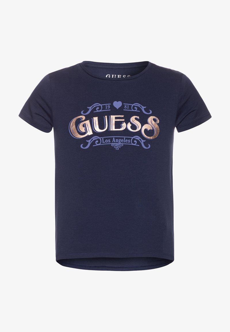 Guess - JUNIOR HIGH LOW - Print T-shirt - bleu/deck blue