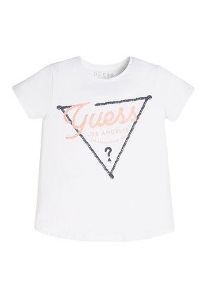 GUESS T-SHIRT GLITTER LOGO - T-shirt imprimé - weiß