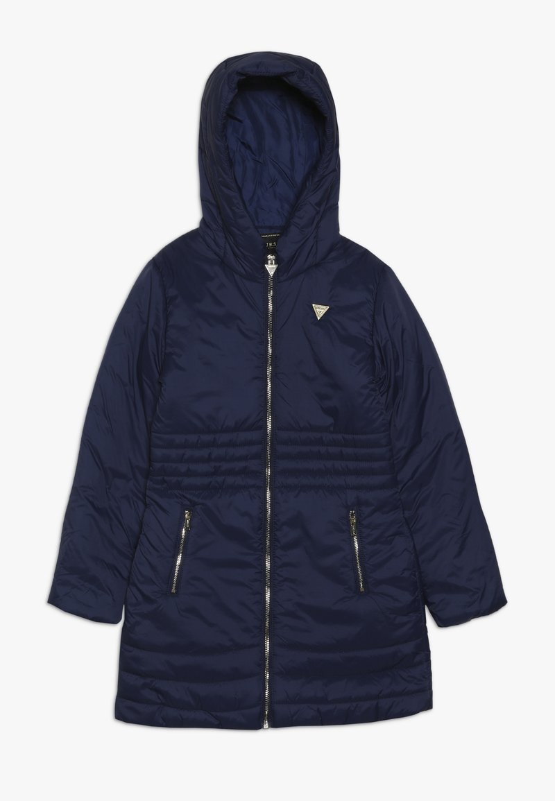 Guess - JUNIOR PADDED HOODED LONG JACKET - Płaszcz zimowy - deck blue