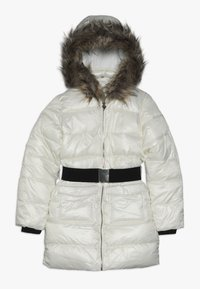 Guess - JUNIOR SHINY PADDED HOODED JACKET - Zimní kabát - white clay - 0