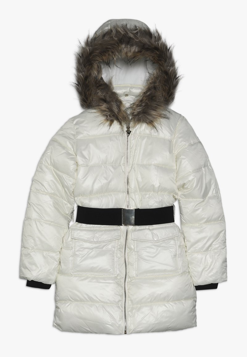 Guess - JUNIOR SHINY PADDED HOODED JACKET - Zimní kabát - white clay