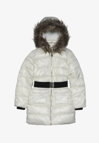 Guess - JUNIOR SHINY PADDED HOODED JACKET - Zimní kabát - white clay - 4