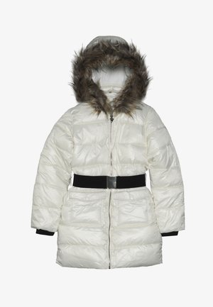 JUNIOR SHINY PADDED HOODED JACKET - Zimní kabát - white clay