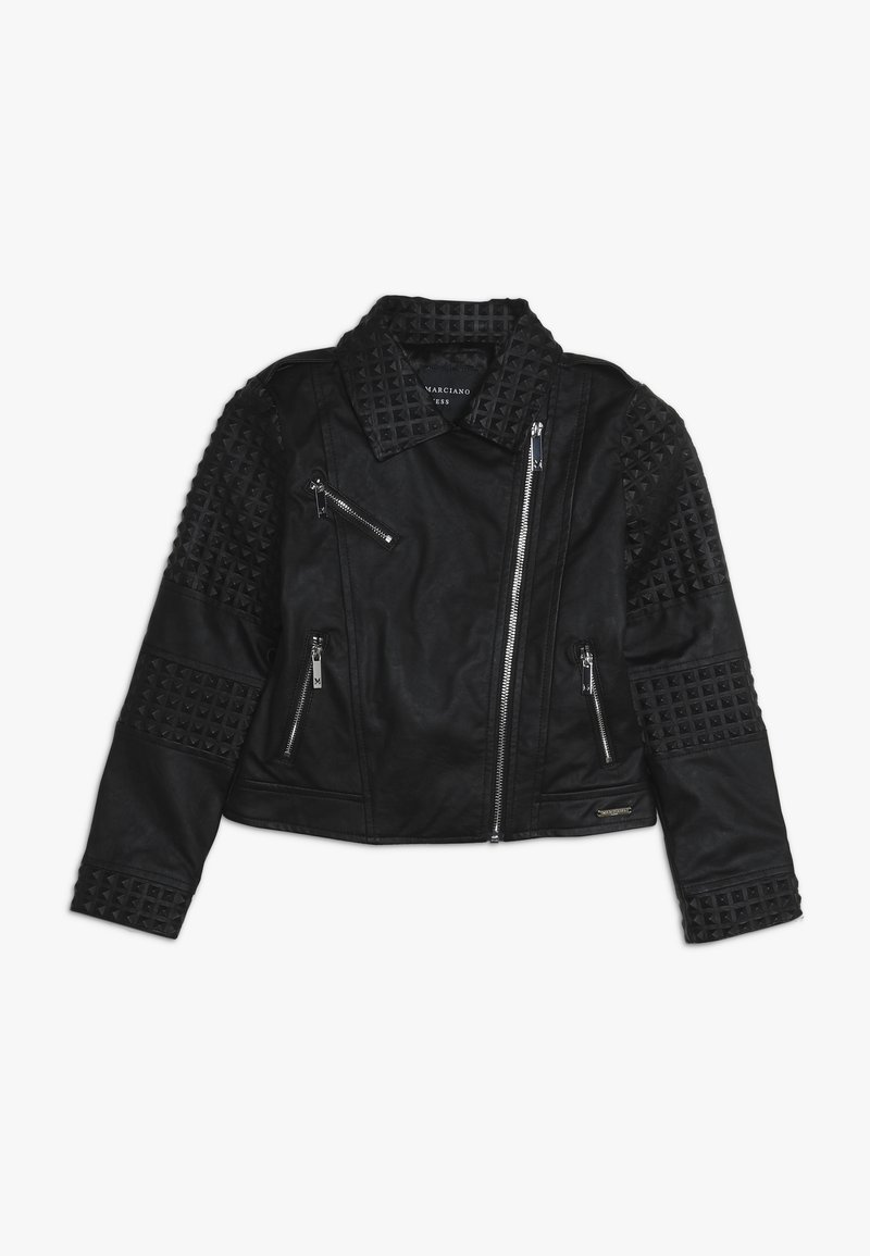 Guess - JUNIOR JACKET MARCIANO - Faux leather jacket - jet black