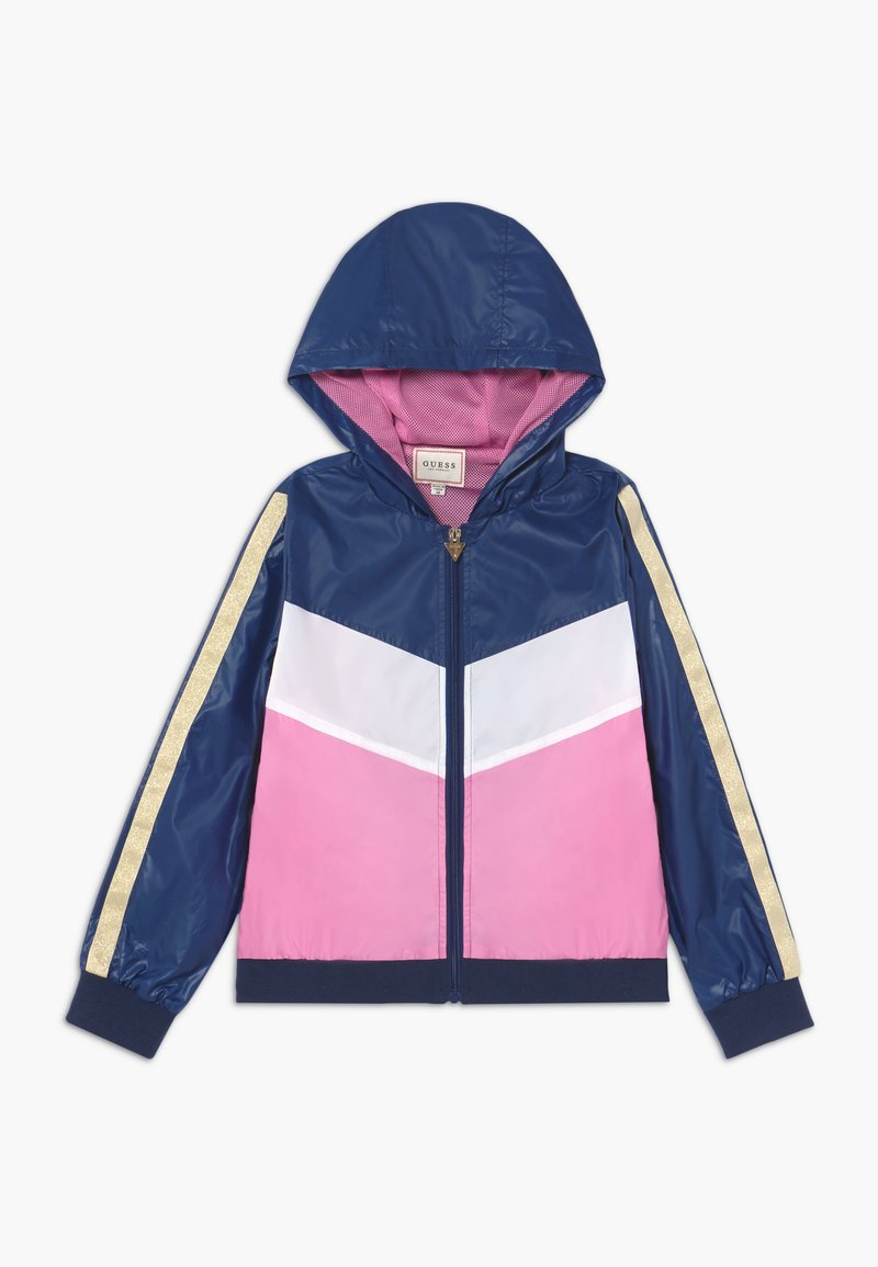 Guess - JUNIOR HOODED ACTIVE - Light jacket - geometric pink blue