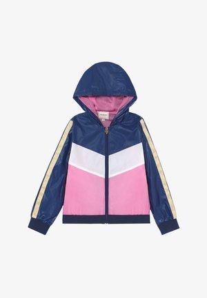 JUNIOR HOODED ACTIVE - Lehká bunda - geometric pink blue