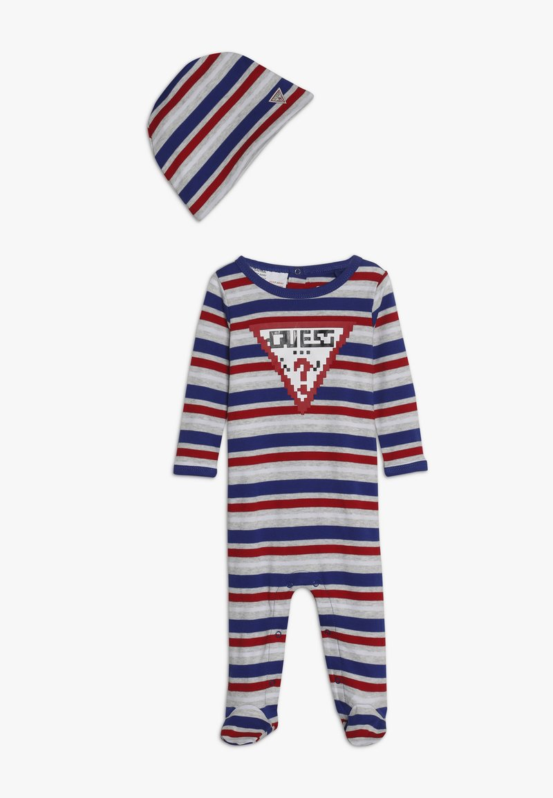 Guess - OVERALL HAT BABY - Babygrow - blue/grey/white