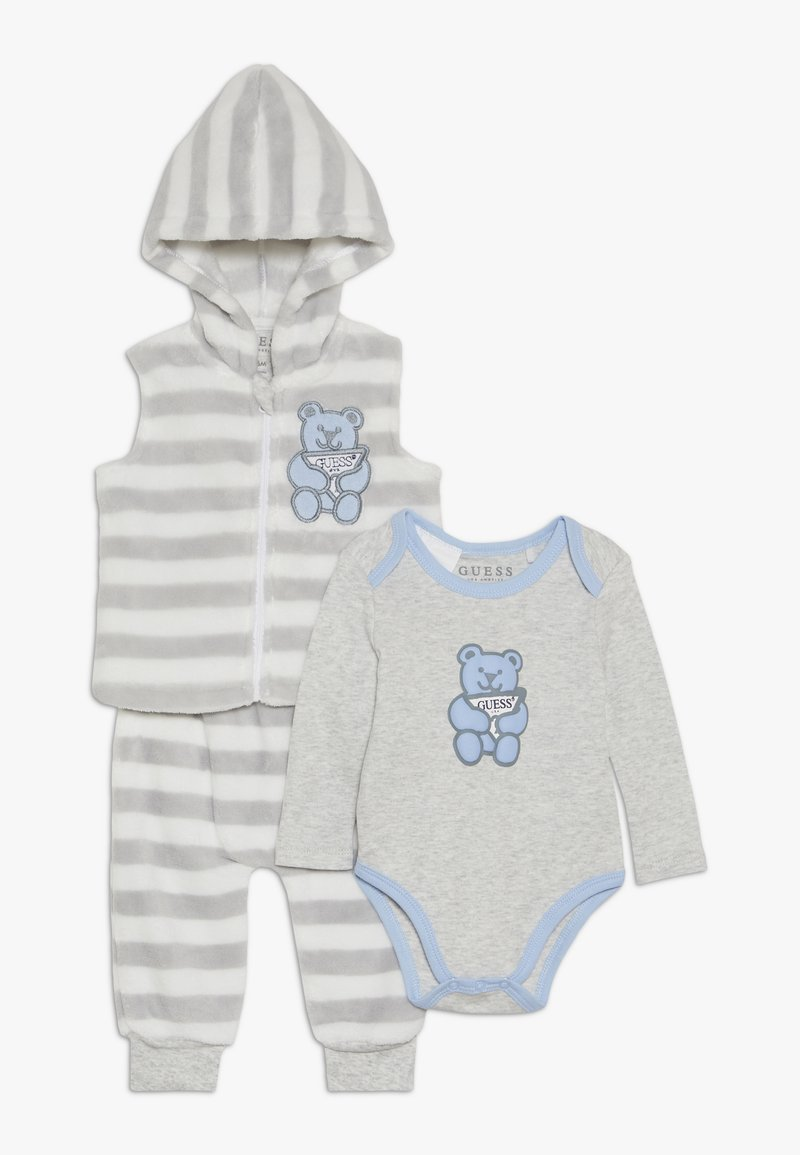 Guess - HOODED VEST BODY PANTS BABY SET - Body - grey/white