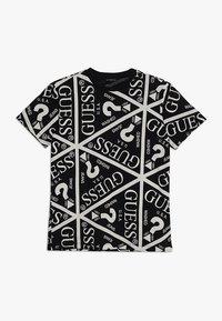 Guess - JUNIOR UNISEX OVERSIZE ICON - Print T-shirt - jet black - 0