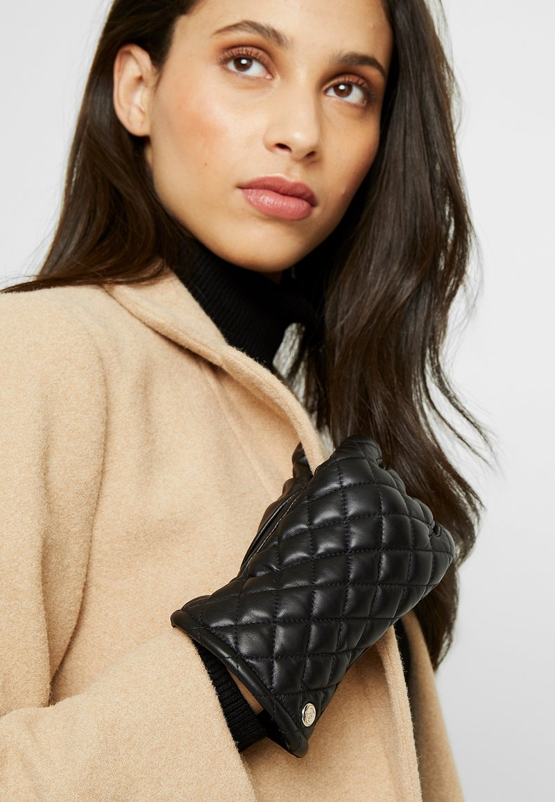 Guess - NOT COORDINATED LEATHER GLOVES - Guanti - black