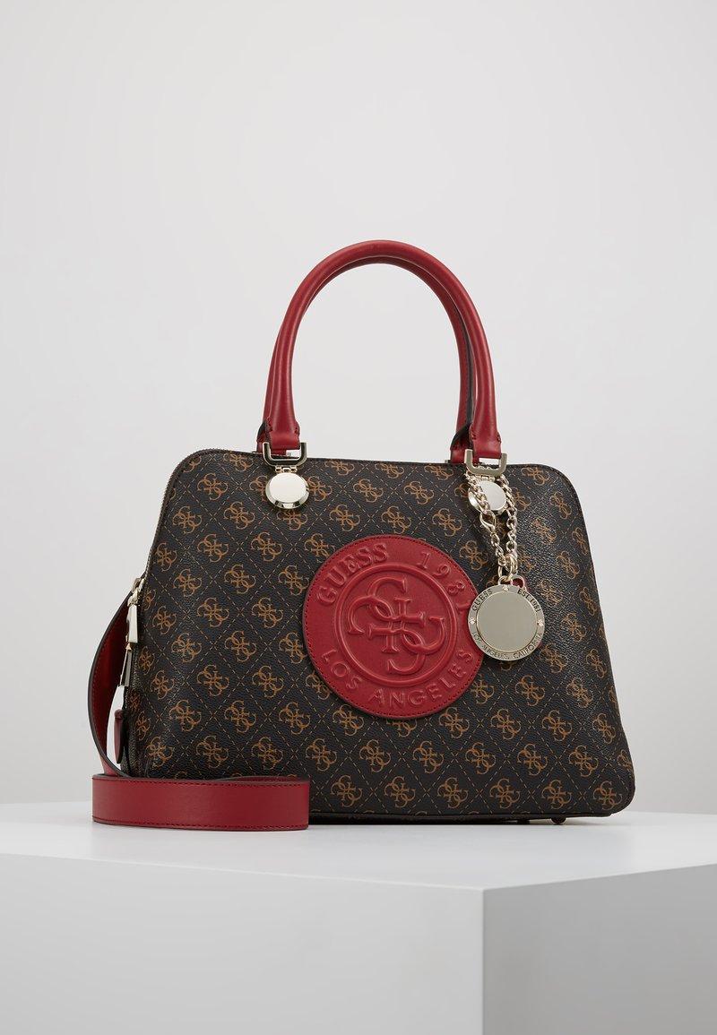 Guess - ALINE DOME SATCHEL - Handbag - brown/multi