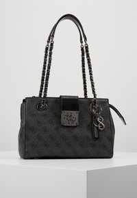 Guess - LOGO CITY SOCIETY SATCHEL - Handbag - coal - 0