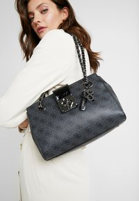 Guess - LOGO CITY SOCIETY SATCHEL - Handbag - coal - 1