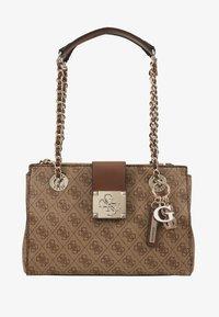 Guess - LOGO CITY SML SOCIETY SATCHEL - Handbag - brown - 5