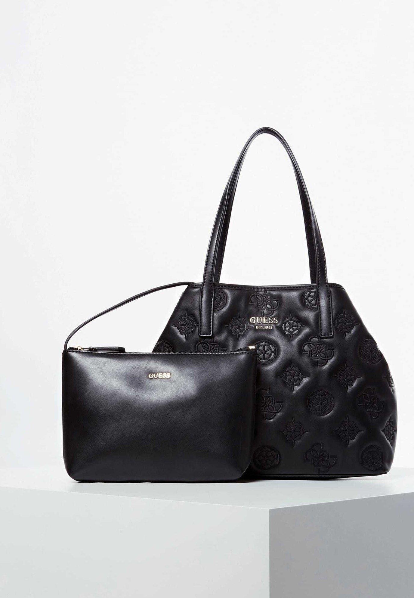 Guess Shopper Vikky Gesticktes Logo - Shopping Bag Schwarz BkYxqxm