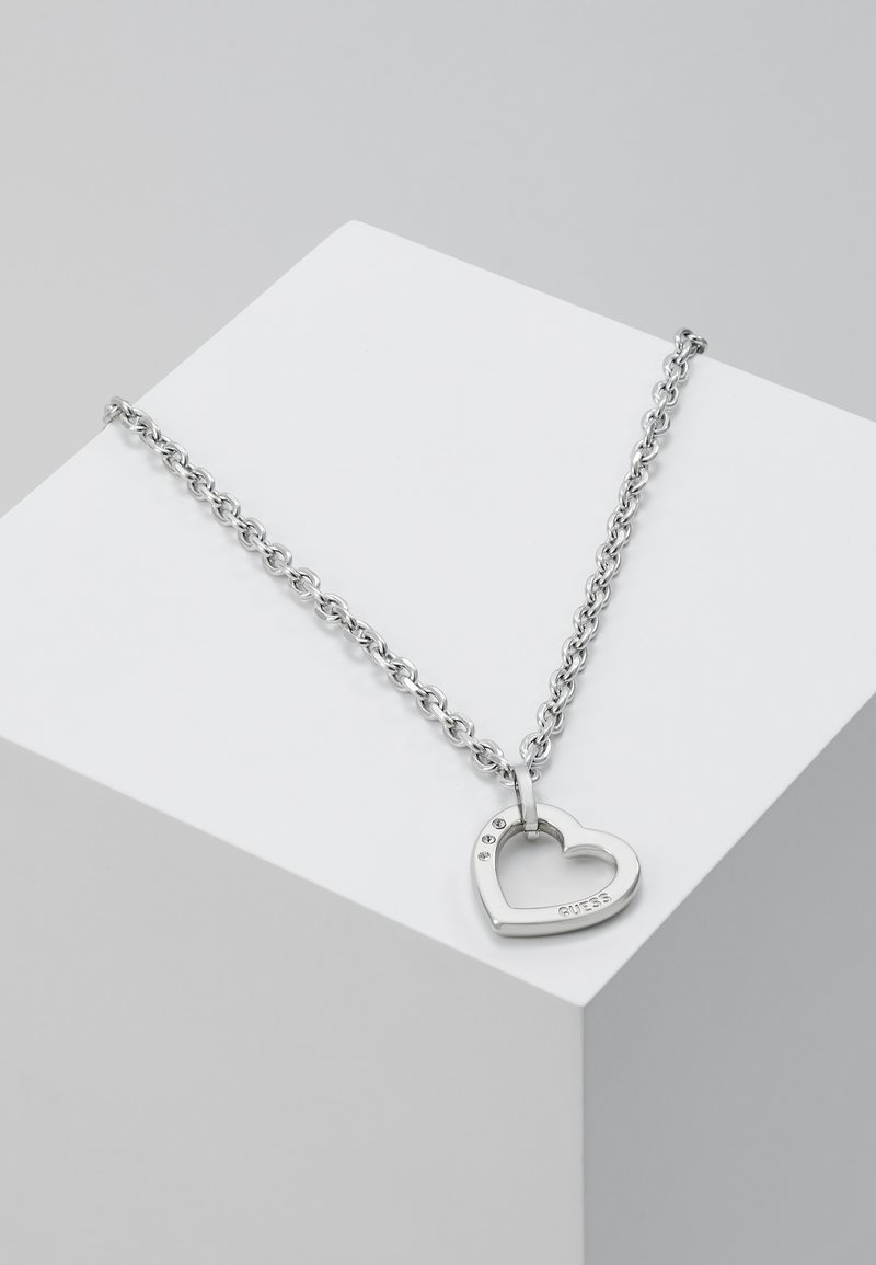 Guess - HEARTED CHAIN - Naszyjnik - silver-coloured