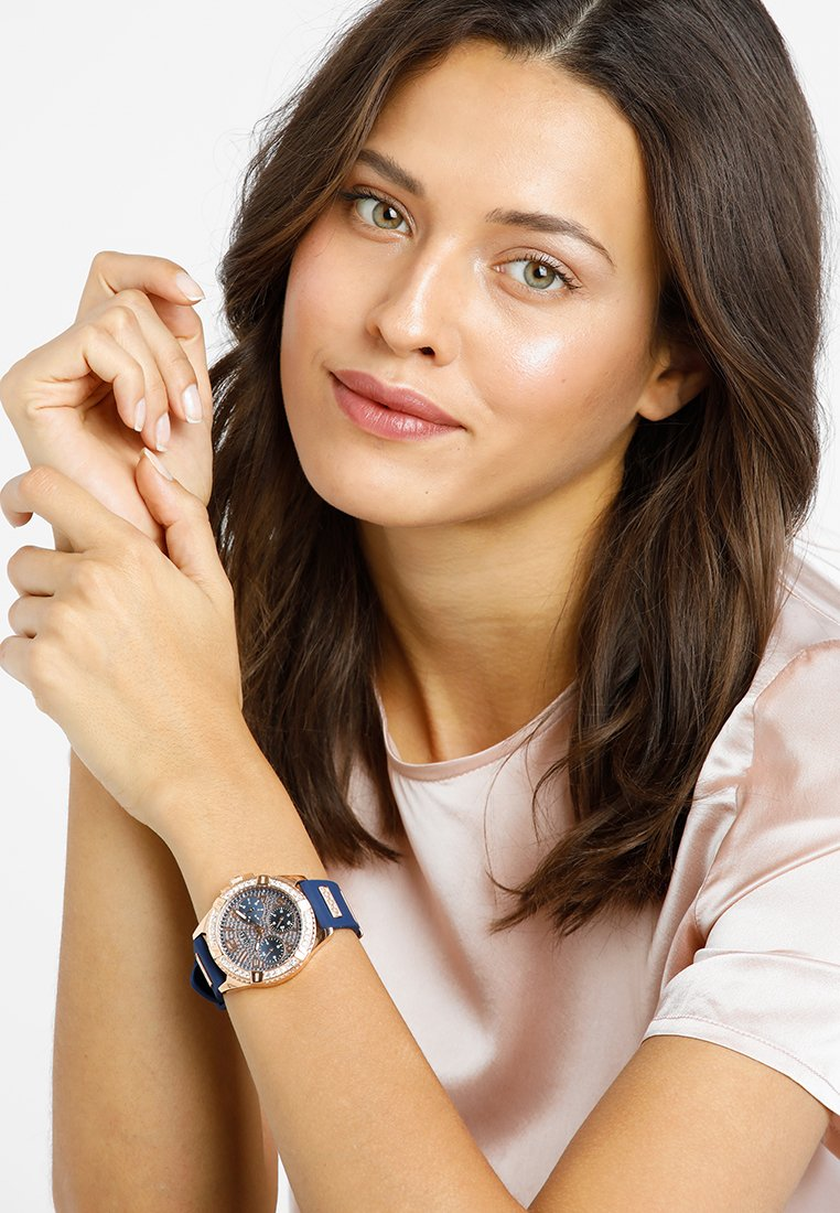 Guess - LADIES SPORT - Watch - blue/rose gold-coloured