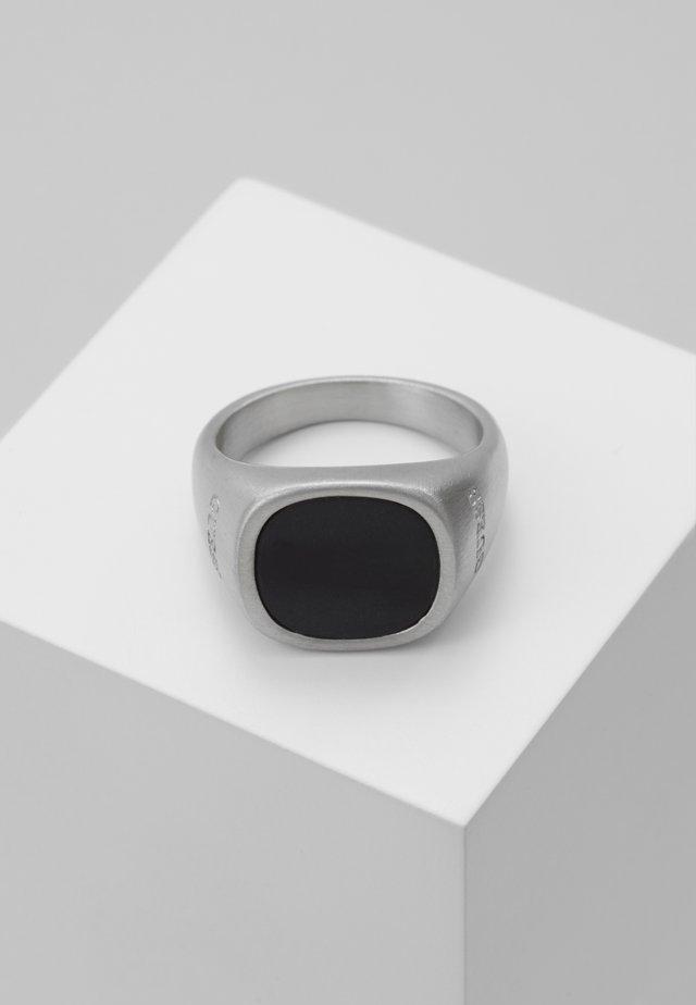 SQUARED BLACK STONE RING  - Anello - silver-coloured