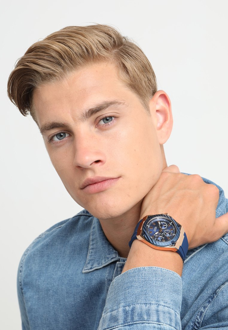 Guess - MENS SPORT - Watch - blue/rosegold-coloured