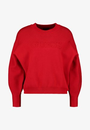 EMBOSSED LOGO SWEATER - Strikkegenser - planet red