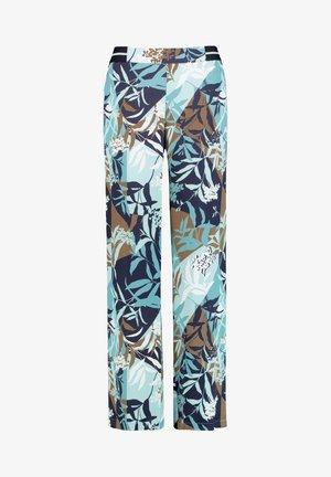 MIT FLORALEM MUSTER - Trousers - dark navy/aqua offwhite druck