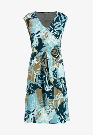 MIT FLORALEM PATCHPRINT - Korte jurk - dark navy aqua offwhite druck