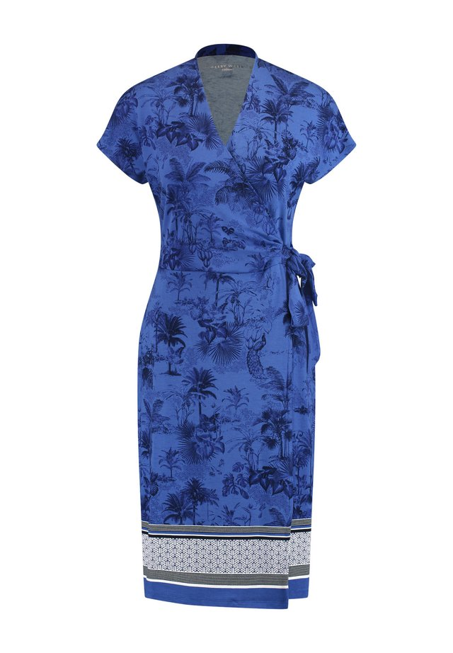 Jerseyjurk - blau/ecru/weiss gemuster