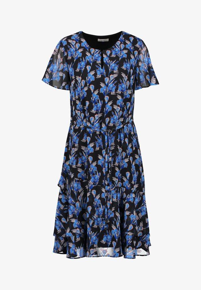 Korte jurk - schwarz/blau druck