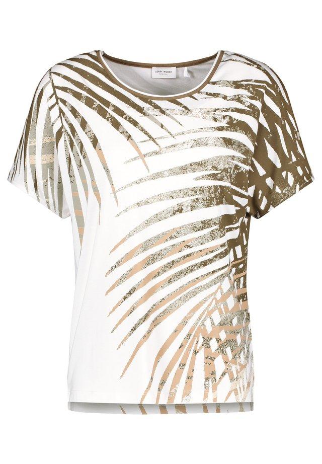 1/2 ARM - Print T-shirt - ecru/weiss/grün druck