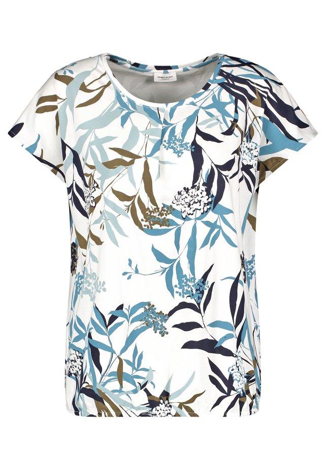Print T-shirt - ecru/weiss/blau druck