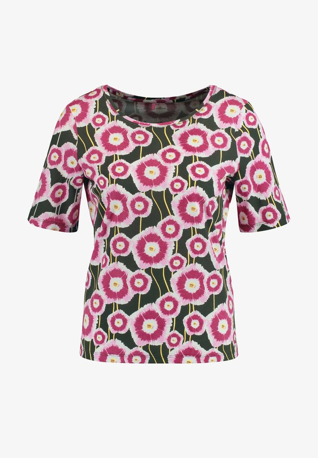 T-SHIRT 1/2 ARM SHIRT MIT RETRO BLUMEN ORGANIC COTTON - T-shirt imprimé - grün/lila/pink druck