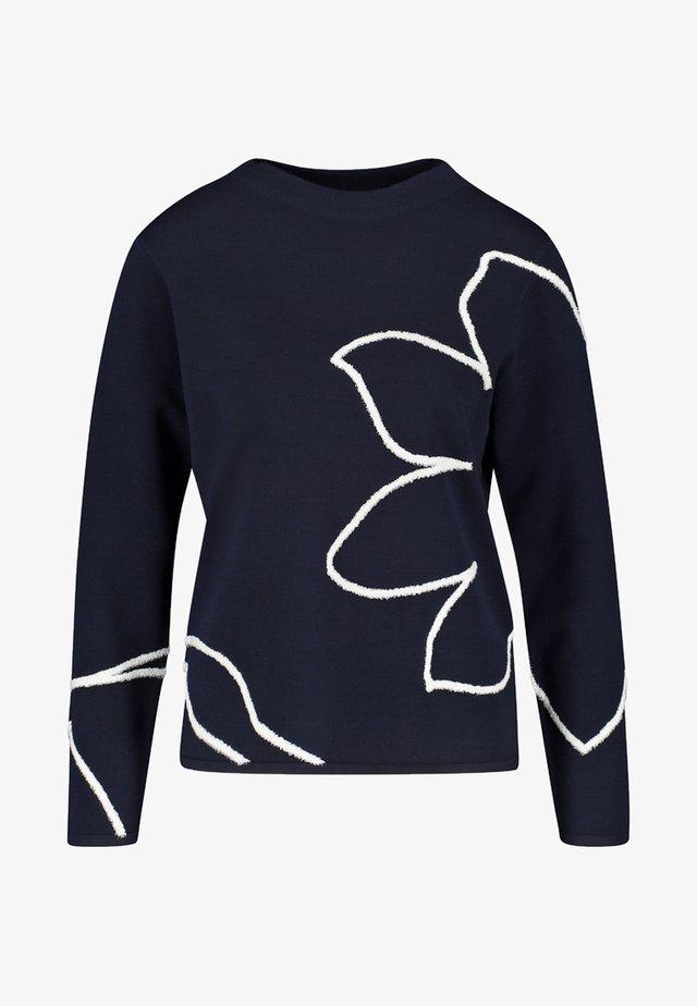 MIT ABSTRAKTEM MUSTER - Sweatshirt - dark navy/ off white